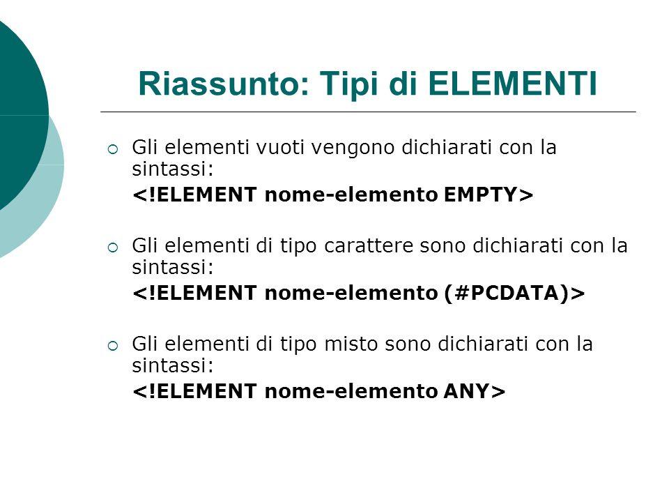Riassunto: Tipi di ELEMENTI  Gli elementi vuoti vengono dichiarati con la sintassi:  Gli elementi di tipo carattere sono dichiarati con la sintassi:  Gli elementi di tipo misto sono dichiarati con la sintassi: