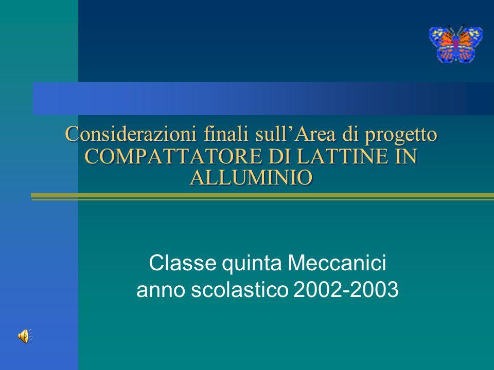 Considerazioni finali sull'Area di progetto COMPATTATORE DI LATTINE IN ALLUMINIO Classe quinta Meccanici anno scolastico 2002-2003
