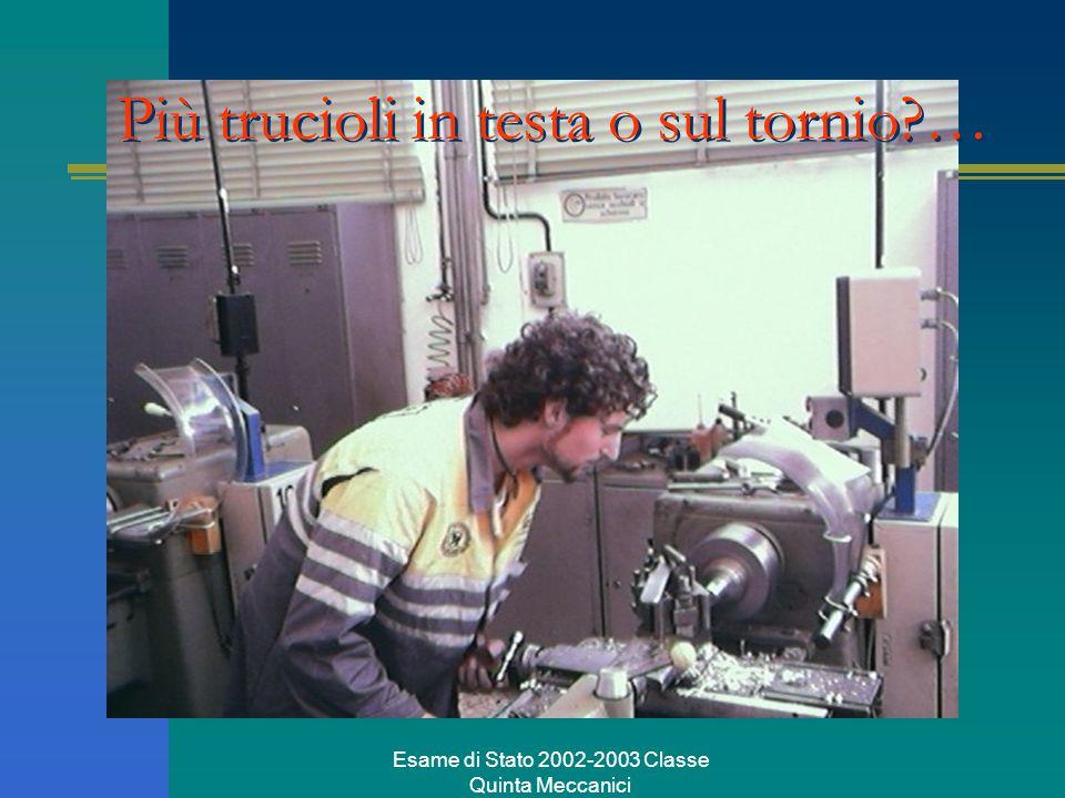 Esame di Stato 2002-2003 Classe Quinta Meccanici Più trucioli in testa o sul tornio?…