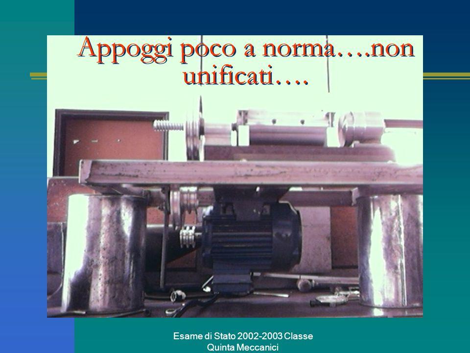 Esame di Stato 2002-2003 Classe Quinta Meccanici Appoggi poco a norma….non unificati….