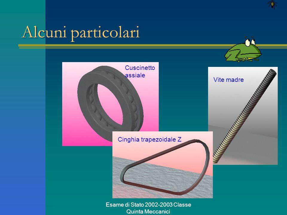 Esame di Stato 2002-2003 Classe Quinta Meccanici Alcuni particolari Cuscinetto assiale Vite madre Cinghia trapezoidale Z