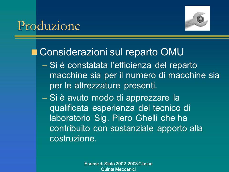 Esame di Stato 2002-2003 Classe Quinta Meccanici Produzione Considerazioni sul reparto OMU –Si è constatata l'efficienza del reparto macchine sia per il numero di macchine sia per le attrezzature presenti.