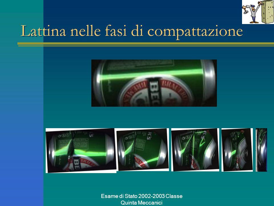 Esame di Stato 2002-2003 Classe Quinta Meccanici Lattina nelle fasi di compattazione