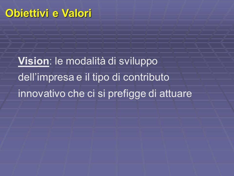 Obiettivi e Valori Vision: le modalità di sviluppo dell'impresa e il tipo di contributo innovativo che ci si prefigge di attuare
