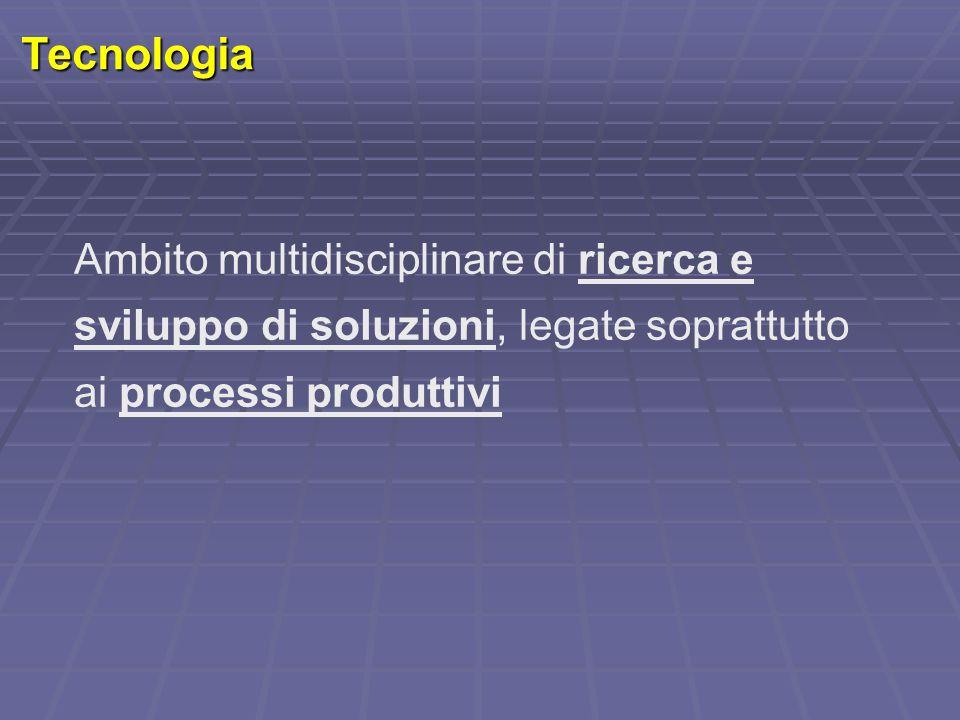 Tecnologia Ambito multidisciplinare di ricerca e sviluppo di soluzioni, legate soprattutto ai processi produttivi