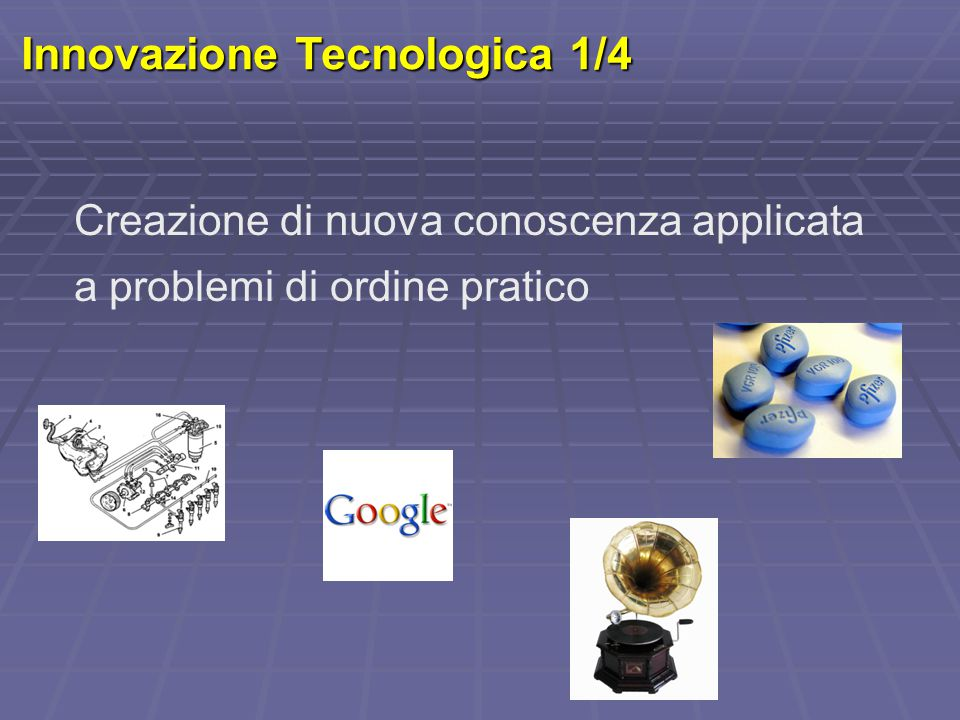 Innovazione Tecnologica 1/4 Creazione di nuova conoscenza applicata a problemi di ordine pratico