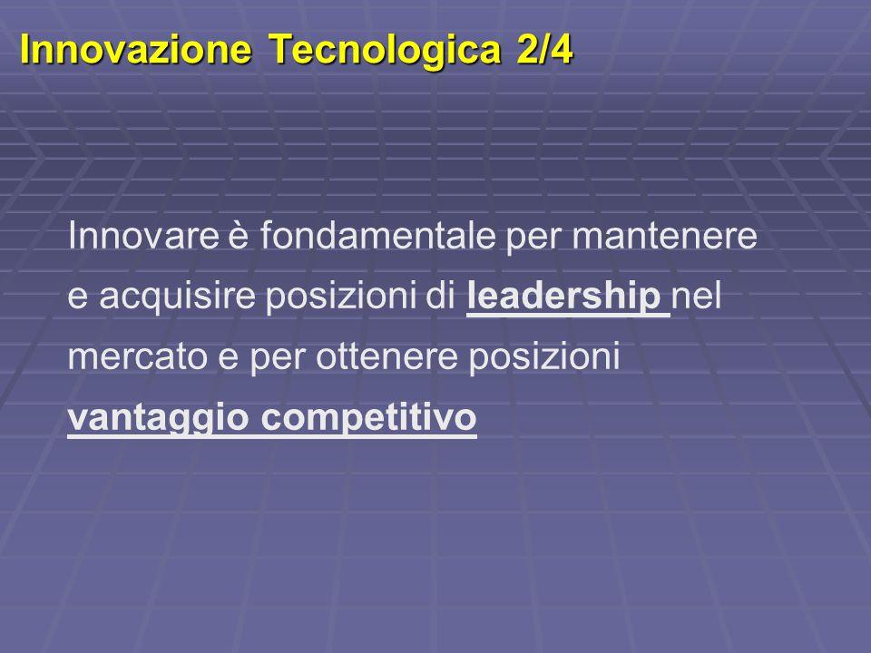 Innovazione Tecnologica 2/4 Innovare è fondamentale per mantenere e acquisire posizioni di leadership nel mercato e per ottenere posizioni vantaggio c