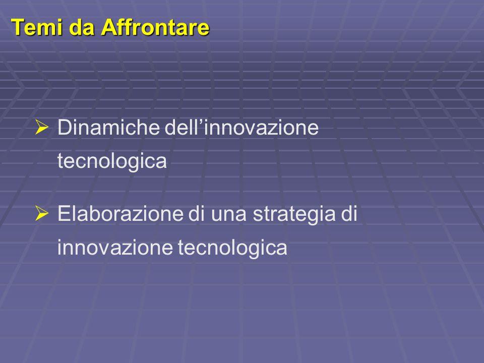 Temi da Affrontare  Dinamiche dell'innovazione tecnologica  Elaborazione di una strategia di innovazione tecnologica