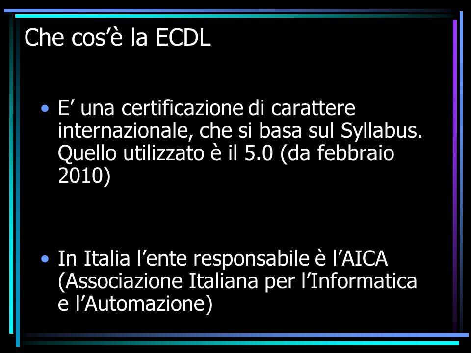 Che cos'è la ECDL E' una certificazione di carattere internazionale, che si basa sul Syllabus.