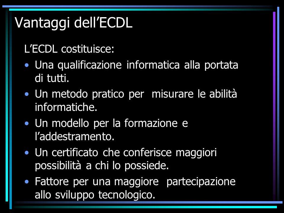Vantaggi dell'ECDL L'ECDL costituisce: Una qualificazione informatica alla portata di tutti.