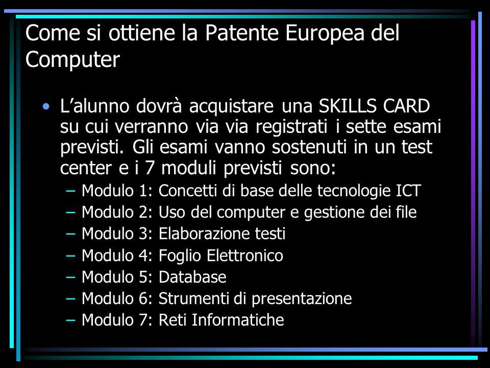 Come si ottiene la Patente Europea del Computer L'alunno dovrà acquistare una SKILLS CARD su cui verranno via via registrati i sette esami previsti.