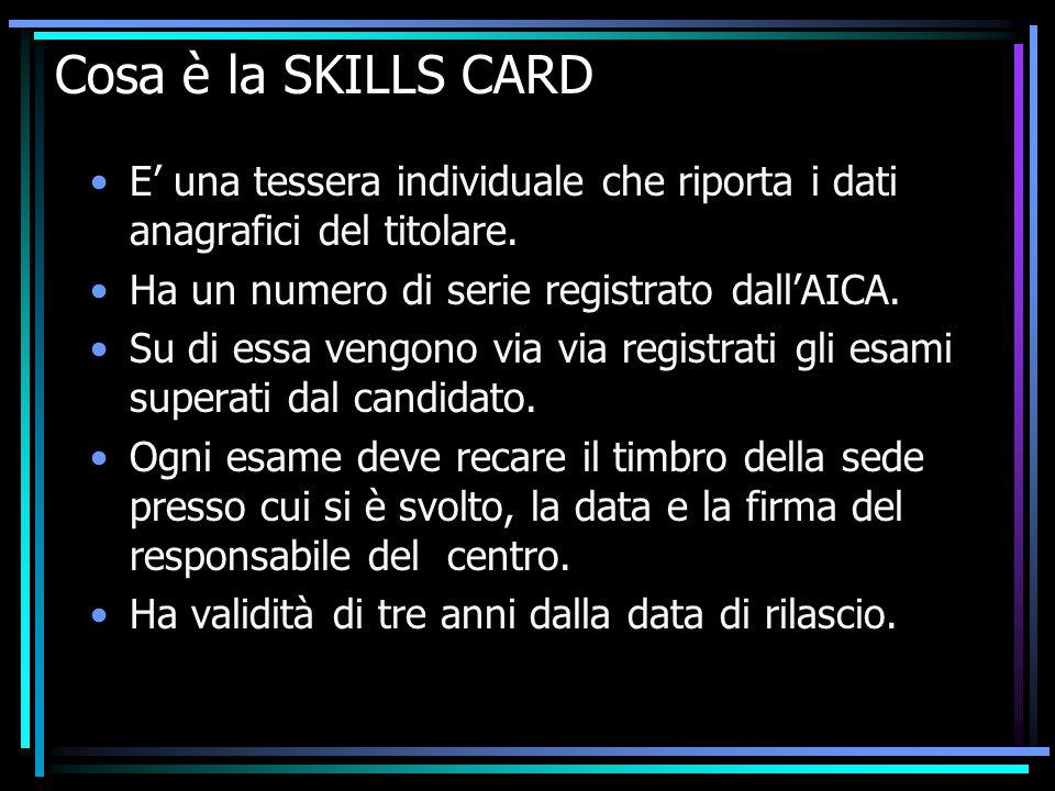 Cosa è la SKILLS CARD E' una tessera individuale che riporta i dati anagrafici del titolare.