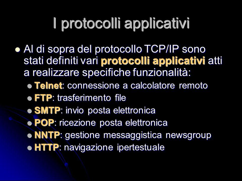I protocolli applicativi Al di sopra del protocollo TCP/IP sono stati definiti vari protocolli applicativi atti a realizzare specifiche funzionalità: