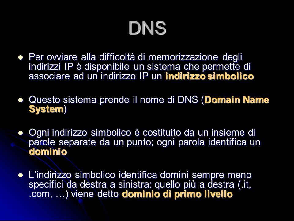 DNS Per ovviare alla difficoltà di memorizzazione degli indirizzi IP è disponibile un sistema che permette di associare ad un indirizzo IP un indirizz