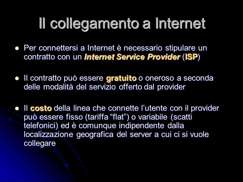 Il collegamento a Internet Per connettersi a Internet è necessario stipulare un contratto con un Internet Service Provider (ISP) Per connettersi a Int