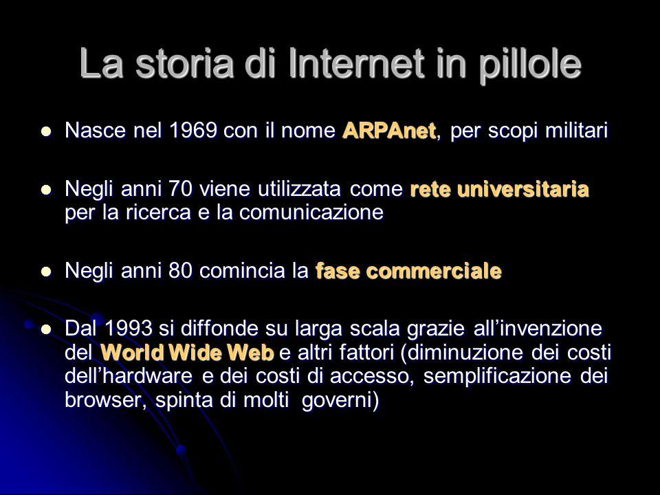 La storia di Internet in pillole Nasce nel 1969 con il nome ARPAnet, per scopi militari Nasce nel 1969 con il nome ARPAnet, per scopi militari Negli a
