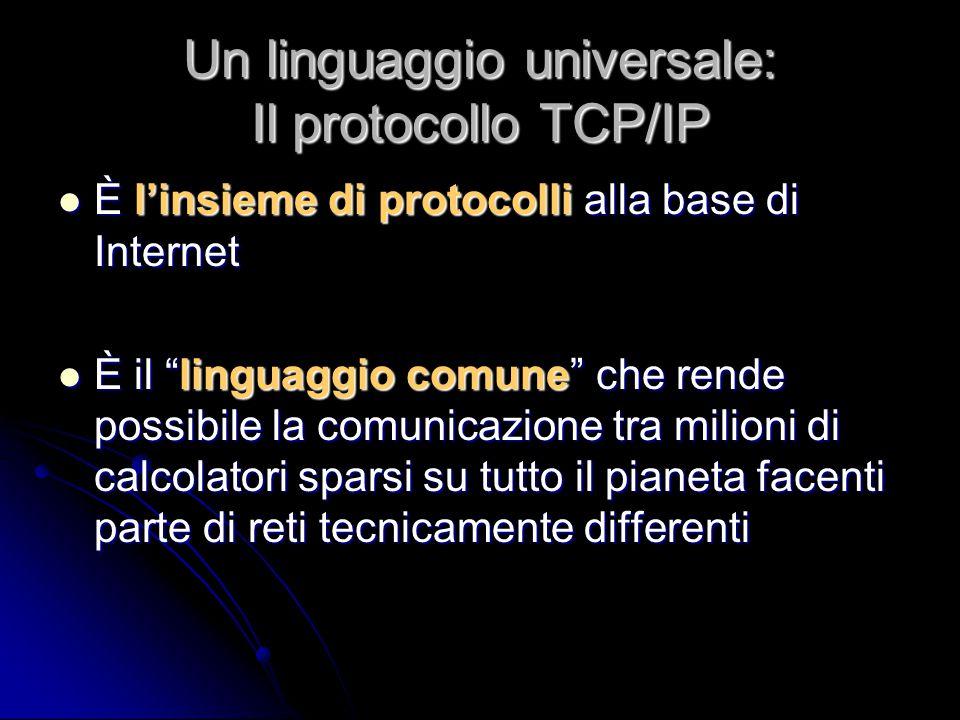 """Un linguaggio universale: Il protocollo TCP/IP È l'insieme di protocolli alla base di Internet È l'insieme di protocolli alla base di Internet È il """"l"""