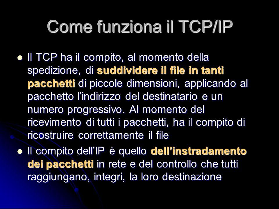 Come funziona il TCP/IP Il TCP ha il compito, al momento della spedizione, di suddividere il file in tanti pacchetti di piccole dimensioni, applicando