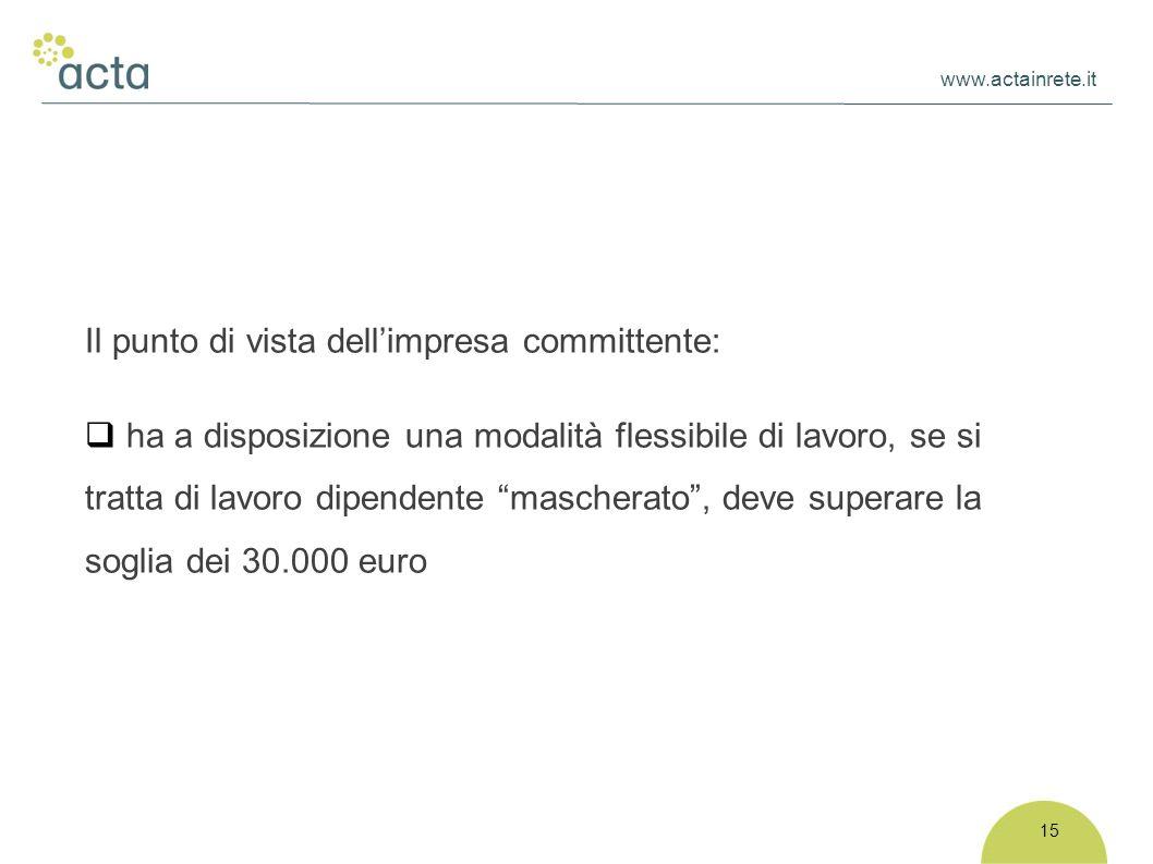 www.actainrete.it 15 Il punto di vista dell'impresa committente:  ha a disposizione una modalità flessibile di lavoro, se si tratta di lavoro dipendente mascherato , deve superare la soglia dei 30.000 euro