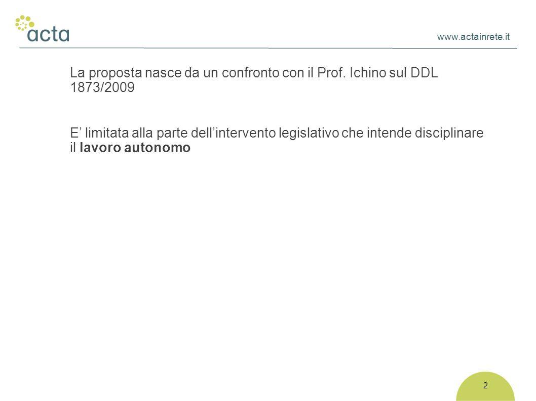 www.actainrete.it 2 La proposta nasce da un confronto con il Prof. Ichino sul DDL 1873/2009 E' limitata alla parte dell'intervento legislativo che int