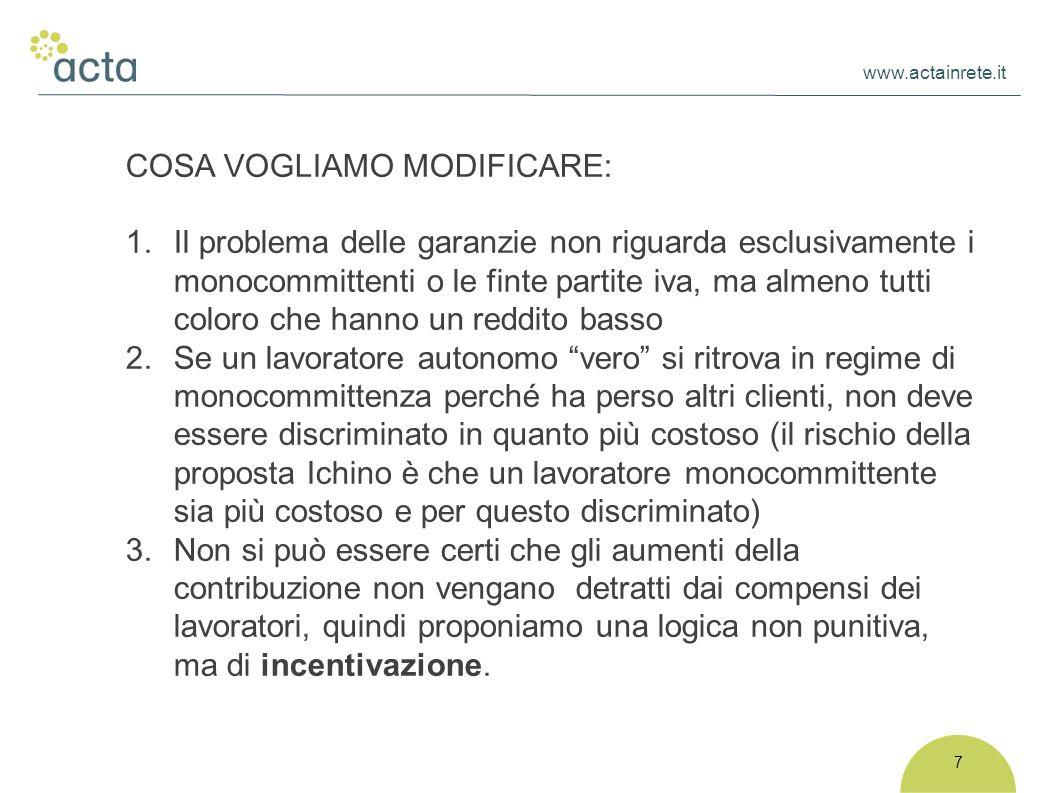 www.actainrete.it 7 COSA VOGLIAMO MODIFICARE: 1. Il problema delle garanzie non riguarda esclusivamente i monocommittenti o le finte partite iva, ma a
