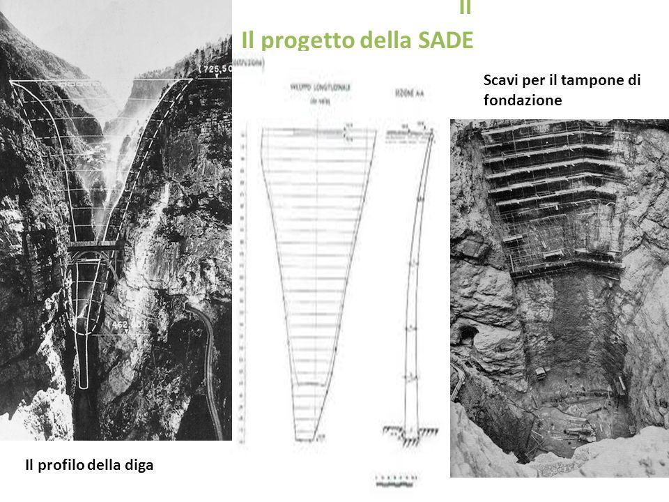 Il Il progetto della SADE. Il profilo della diga Scavi per il tampone di fondazione