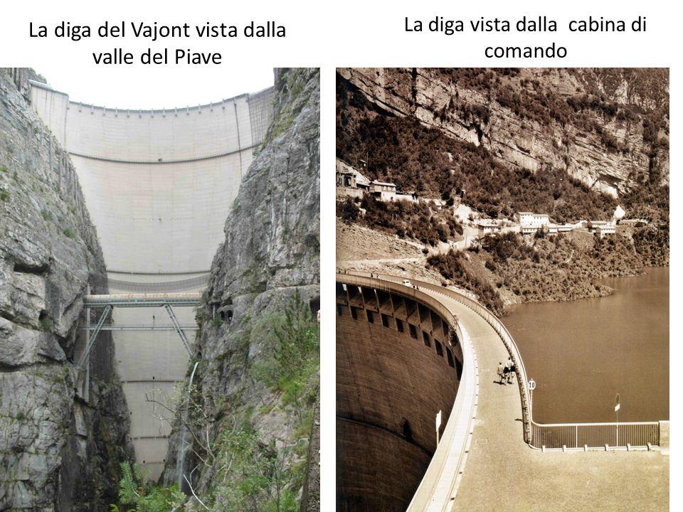 La diga del Vajont vista dalla valle del Piave La diga vista dalla cabina di comando