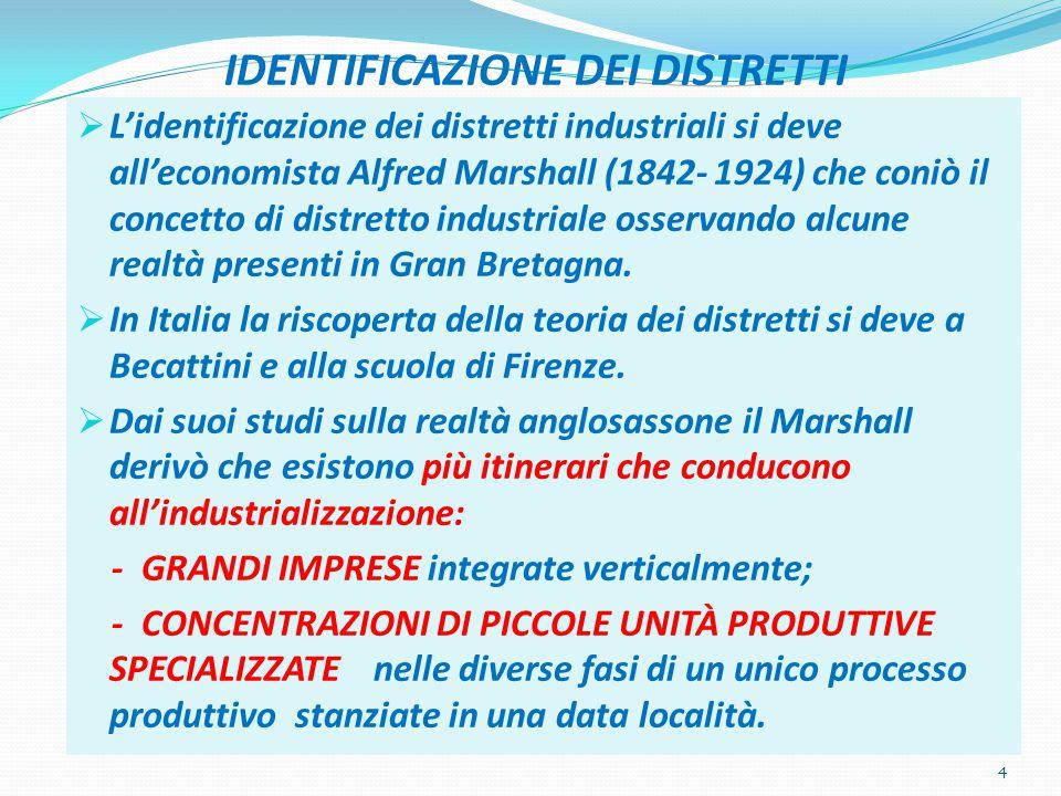 IDENTIFICAZIONE DEI DISTRETTI  L'identificazione dei distretti industriali si deve all'economista Alfred Marshall (1842- 1924) che coniò il concetto di distretto industriale osservando alcune realtà presenti in Gran Bretagna.
