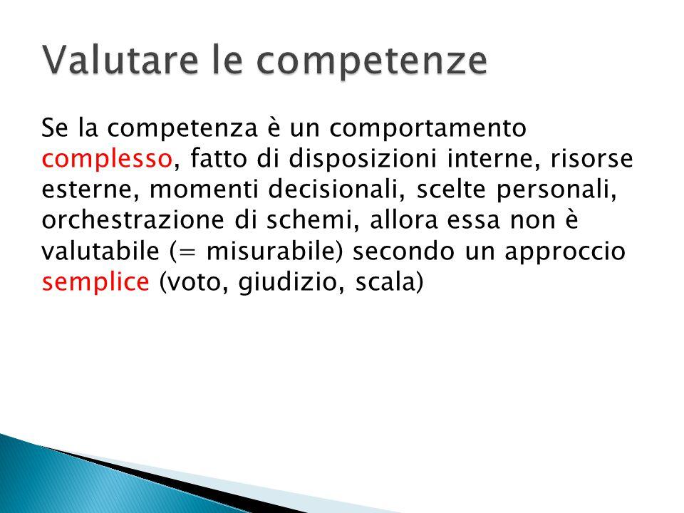 Se la competenza è un comportamento complesso, fatto di disposizioni interne, risorse esterne, momenti decisionali, scelte personali, orchestrazione d