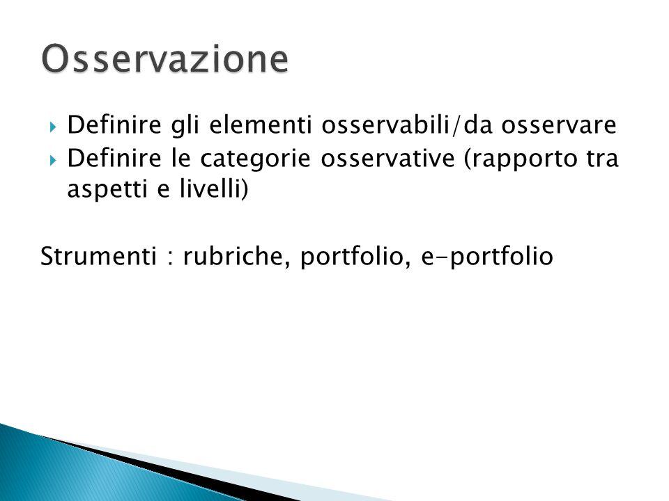  Definire gli elementi osservabili/da osservare  Definire le categorie osservative (rapporto tra aspetti e livelli) Strumenti : rubriche, portfolio,