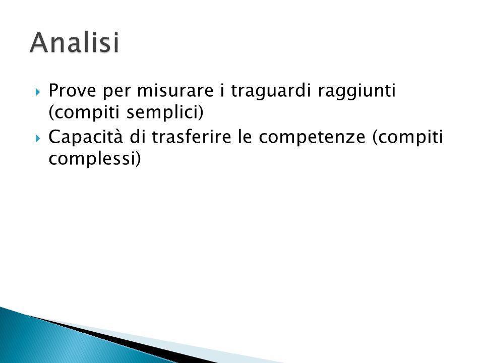  Prove per misurare i traguardi raggiunti (compiti semplici)  Capacità di trasferire le competenze (compiti complessi)