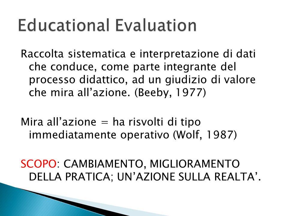 Raccolta sistematica e interpretazione di dati che conduce, come parte integrante del processo didattico, ad un giudizio di valore che mira all'azione