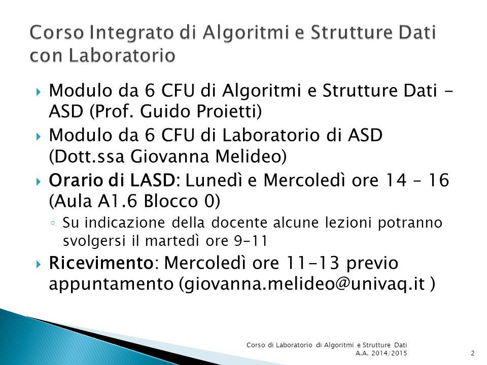  Modulo da 6 CFU di Algoritmi e Strutture Dati - ASD (Prof. Guido Proietti)  Modulo da 6 CFU di Laboratorio di ASD (Dott.ssa Giovanna Melideo)  Ora