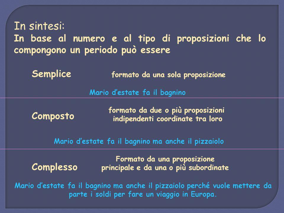 In sintesi: In base al numero e al tipo di proposizioni che lo compongono un periodo può essere Semplice formato da una sola proposizione Mario d'esta