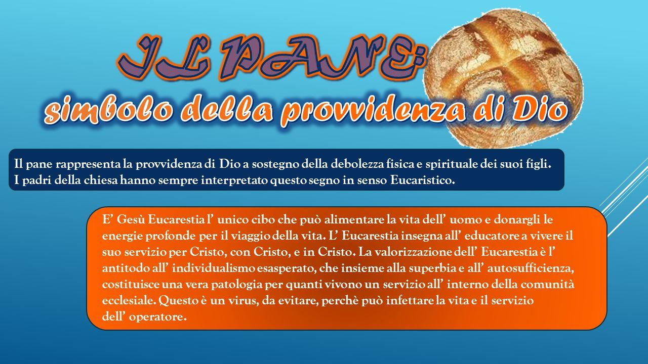 Il pane rappresenta la provvidenza di Dio a sostegno della debolezza fisica e spirituale dei suoi figli.
