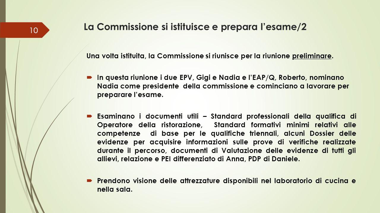 La Commissione si istituisce e prepara l'esame/2 Una volta istituita, la Commissione si riunisce per la riunione preliminare.