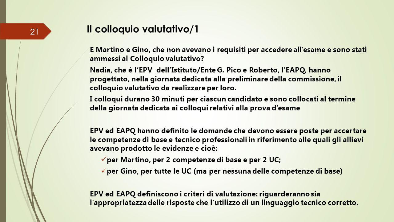 Il colloquio valutativo/2 Nadia e Roberto realizzano congiuntamente il colloquio valutativo.