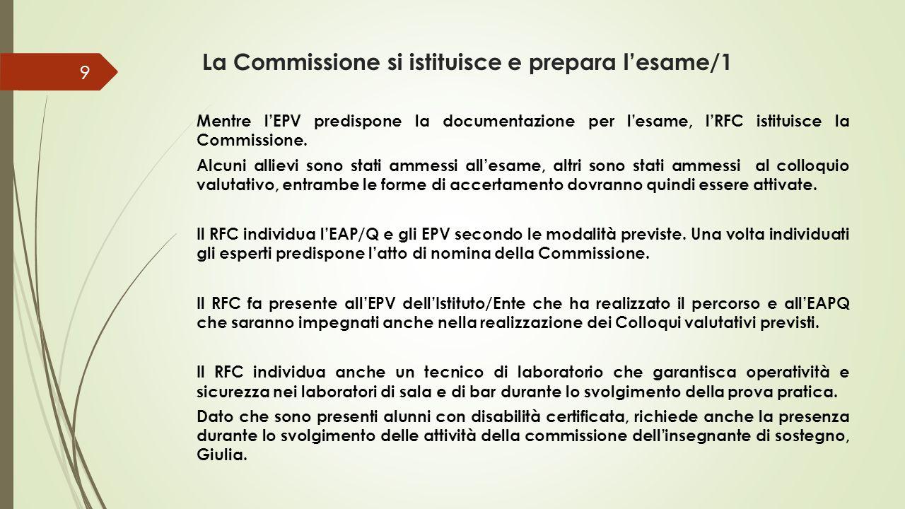 La Commissione si istituisce e prepara l'esame/1 Mentre l'EPV predispone la documentazione per l'esame, l'RFC istituisce la Commissione.