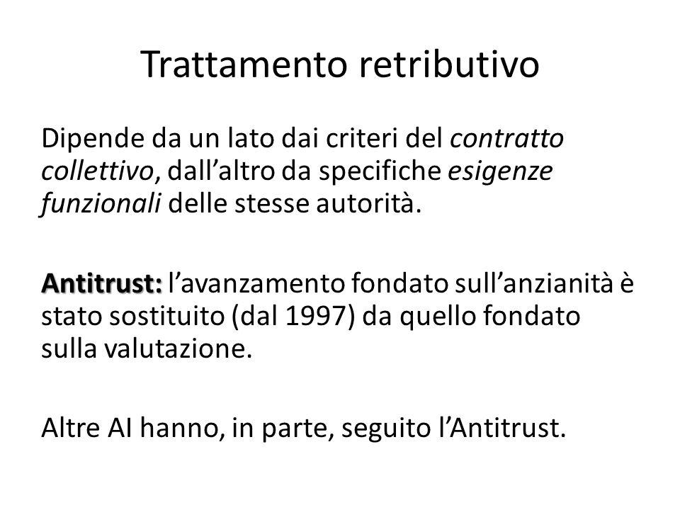 Trattamento retributivo Dipende da un lato dai criteri del contratto collettivo, dall'altro da specifiche esigenze funzionali delle stesse autorità. A