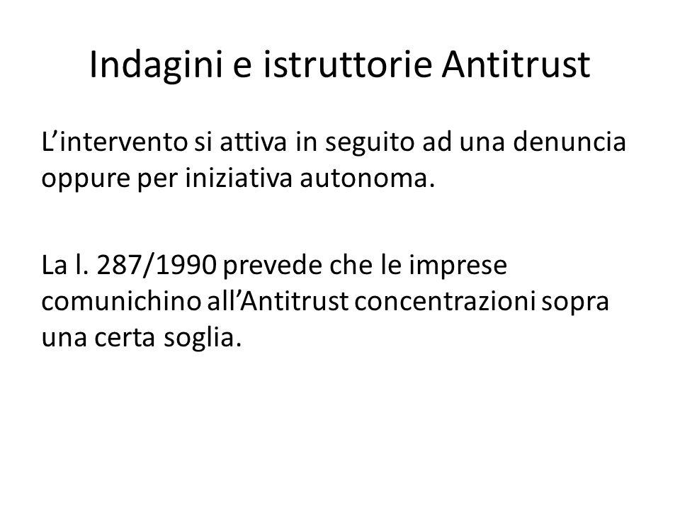 Indagini e istruttorie Antitrust L'intervento si attiva in seguito ad una denuncia oppure per iniziativa autonoma. La l. 287/1990 prevede che le impre