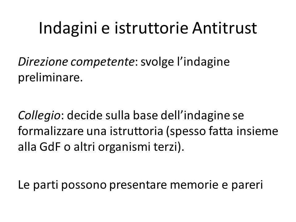 Indagini e istruttorie Antitrust Direzione competente: svolge l'indagine preliminare. Collegio: decide sulla base dell'indagine se formalizzare una is