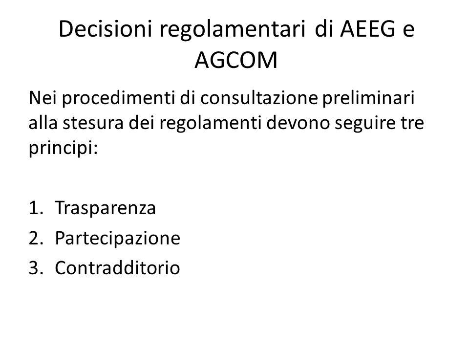 Decisioni regolamentari di AEEG e AGCOM Nei procedimenti di consultazione preliminari alla stesura dei regolamenti devono seguire tre principi: 1.Trasparenza 2.Partecipazione 3.Contradditorio