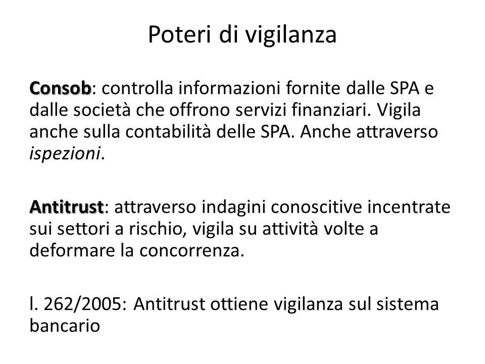 Poteri di vigilanza Consob Consob: controlla informazioni fornite dalle SPA e dalle società che offrono servizi finanziari. Vigila anche sulla contabi