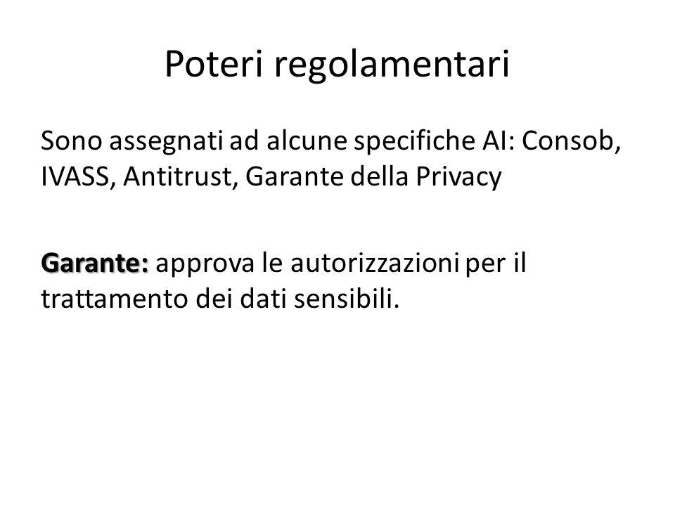 Poteri regolamentari Sono assegnati ad alcune specifiche AI: Consob, IVASS, Antitrust, Garante della Privacy Garante: Garante: approva le autorizzazio