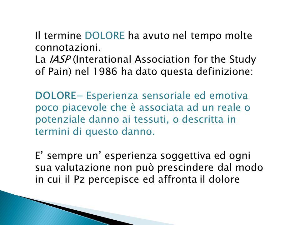 Il termine DOLORE ha avuto nel tempo molte connotazioni. La IASP (Interational Association for the Study of Pain) nel 1986 ha dato questa definizione: