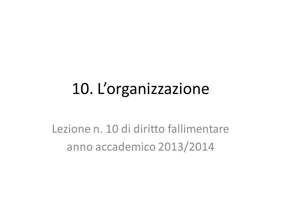 10. L'organizzazione Lezione n. 10 di diritto fallimentare anno accademico 2013/2014
