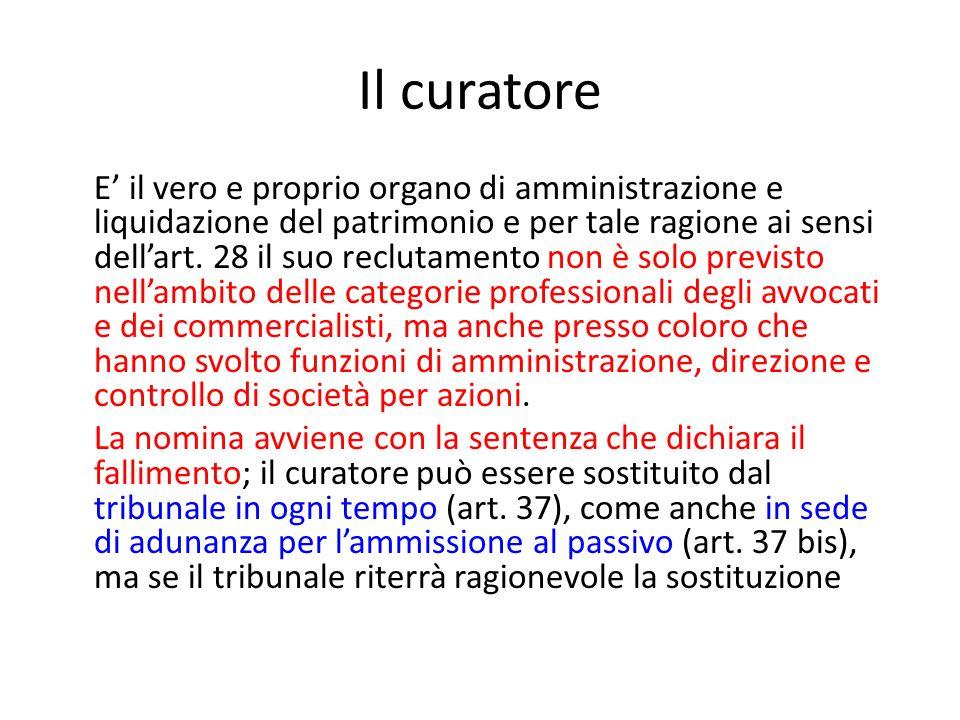 Il curatore E' il vero e proprio organo di amministrazione e liquidazione del patrimonio e per tale ragione ai sensi dell'art.