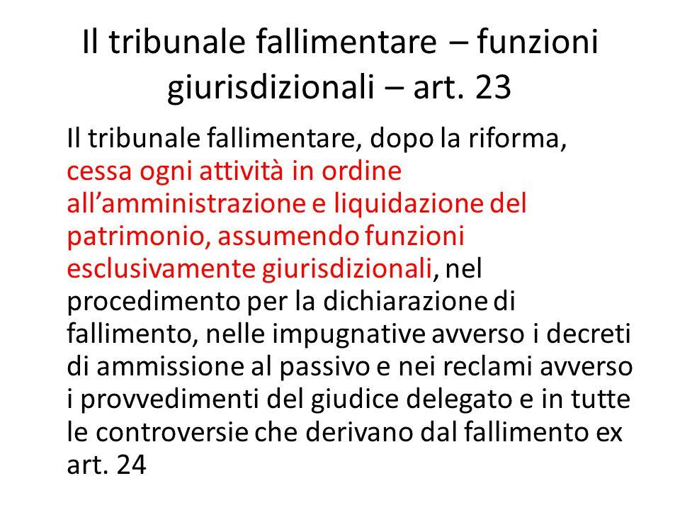 Il tribunale fallimentare – funzioni giurisdizionali – art.