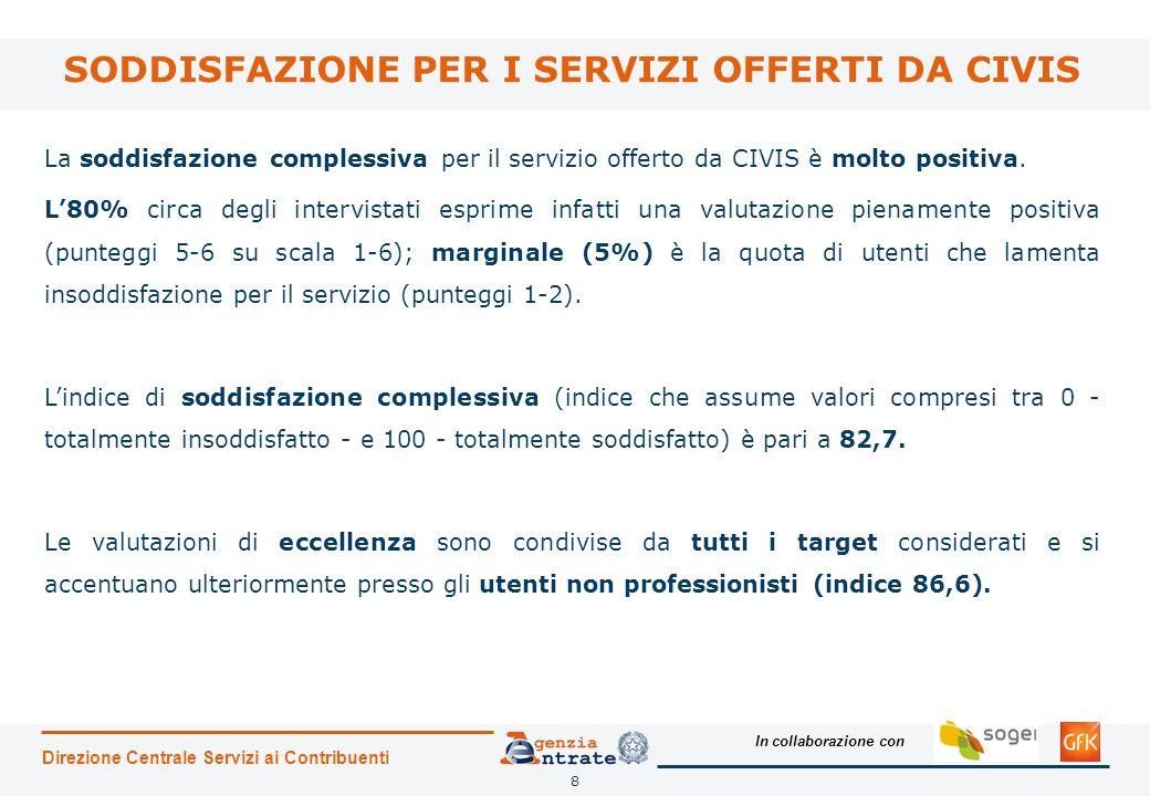 In collaborazione con 8 SODDISFAZIONE PER I SERVIZI OFFERTI DA CIVIS Direzione Centrale Servizi ai Contribuenti La soddisfazione complessiva per il servizio offerto da CIVIS è molto positiva.