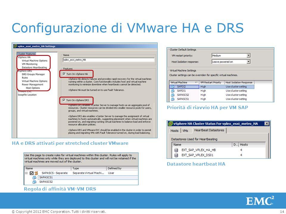 14© Copyright 2012 EMC Corporation. Tutti i diritti riservati. Configurazione di VMware HA e DRS HA e DRS attivati per stretched cluster VMware Priori